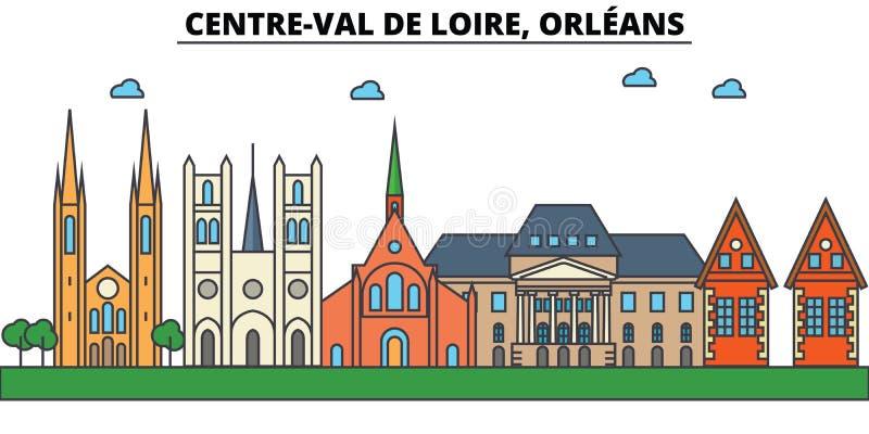 法国,奥尔良,中心瓦儿溪谷 城市地平线建筑学 皇族释放例证