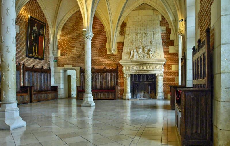 法国,昂布瓦斯城堡的老理事会屋子 图库摄影