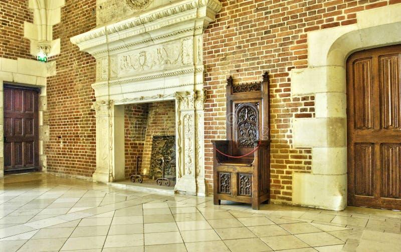 法国,昂布瓦斯城堡的老理事会屋子 免版税库存照片