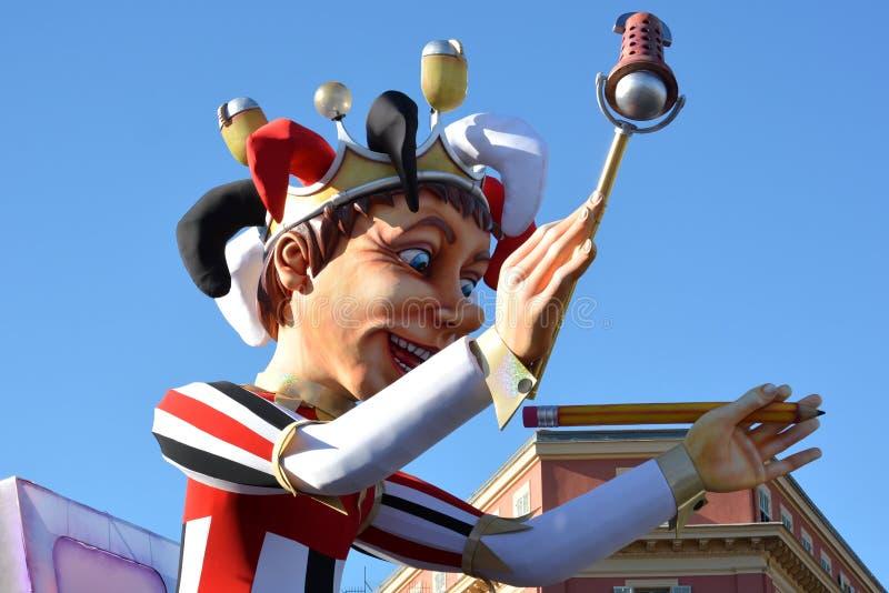 法国,法国海滨,尼斯城市,狂欢节的国王2016年 库存照片