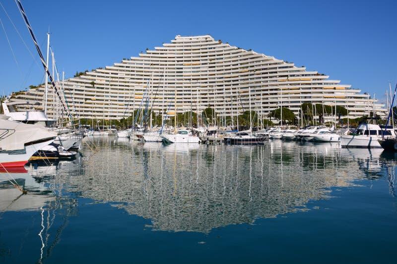 法国,法国海滨,维伦纽夫Loubet,小游艇船坞白鹅des Anges 免版税库存照片