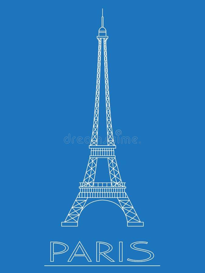 巴黎 法国 埃佛尔铁塔 商标和徽章 线性设计 也corel凹道例证向量 向量例证