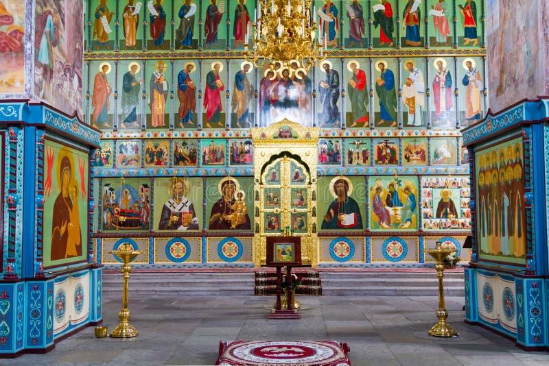 法坛在亚历山大Svirsky修道院里在Staraya Sloboda,俄罗斯 2016年7月 免版税图库摄影