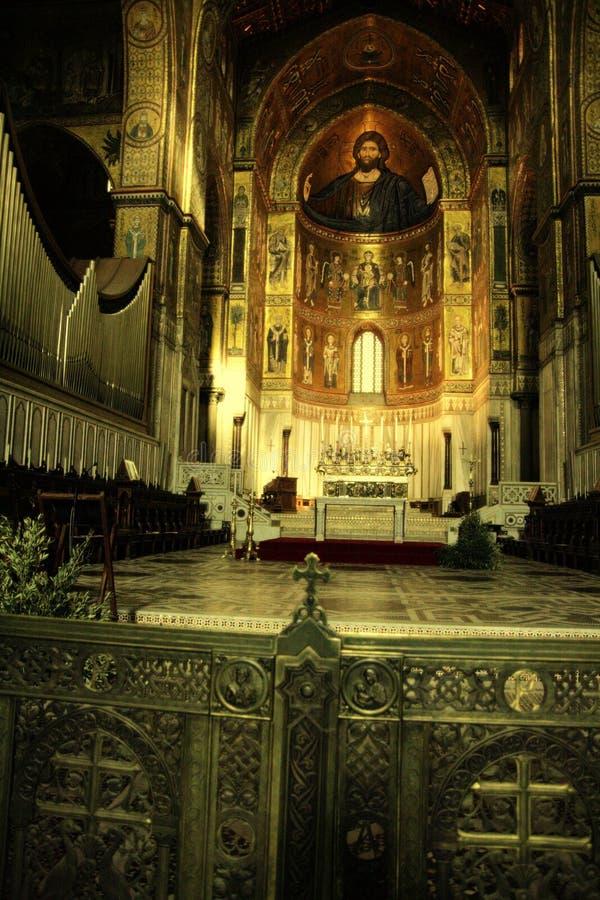 法坛大教堂金黄monreale马赛克西西里岛 图库摄影