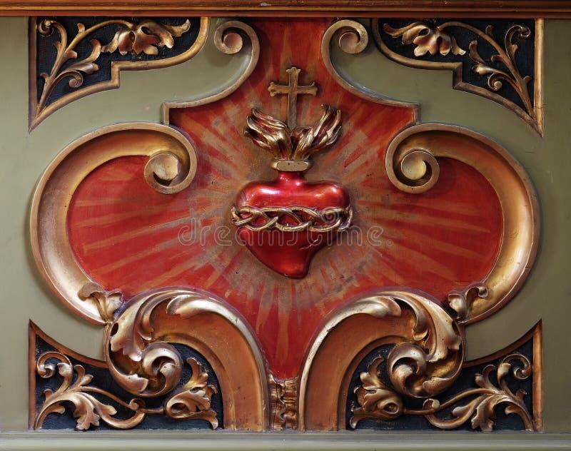 法坛耶稣细节的耶稣圣心在耶稣圣心圣殿在萨格勒布 库存照片