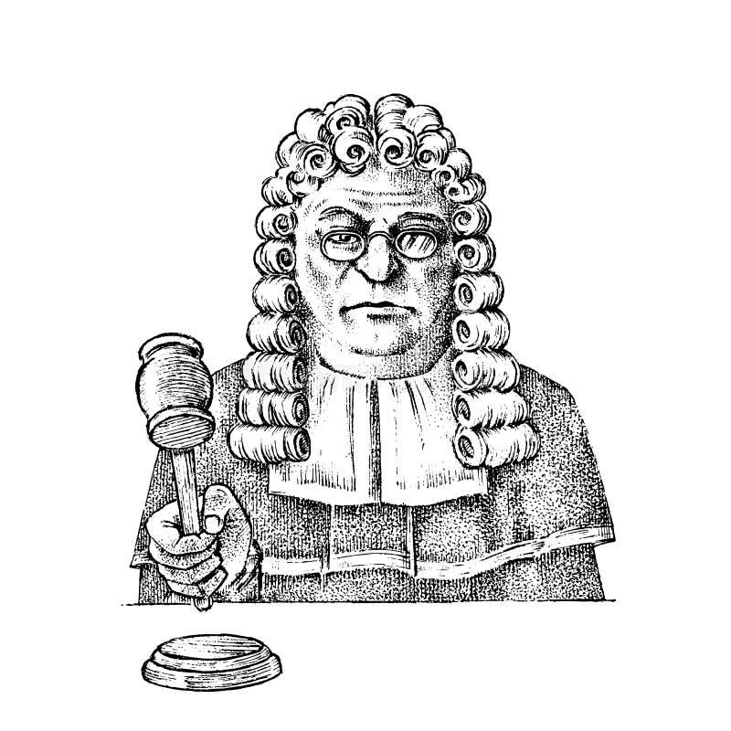 法官人或行政官有一把锤子的正义的 法院工作者 历史老剪影 汉堡包 库存例证