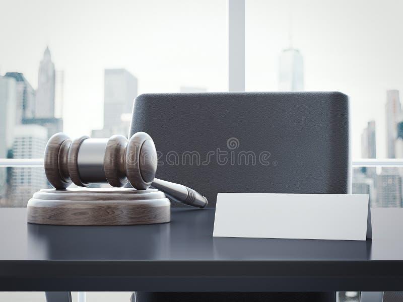 法官和一块空的标识牌的锤子 3d翻译 库存例证