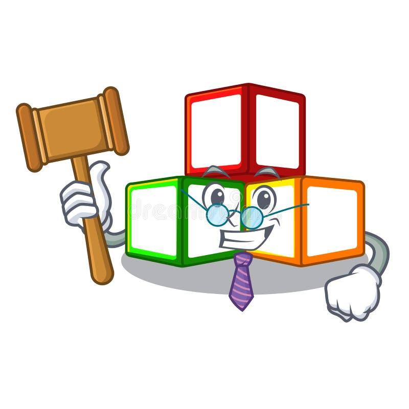法官在立方体箱子吉祥人的玩具块 皇族释放例证