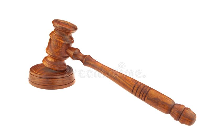 法官或主席或拍卖人硬木惊堂木 库存照片