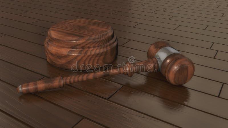 法官` s惊堂木和木条地板地板 免版税库存图片