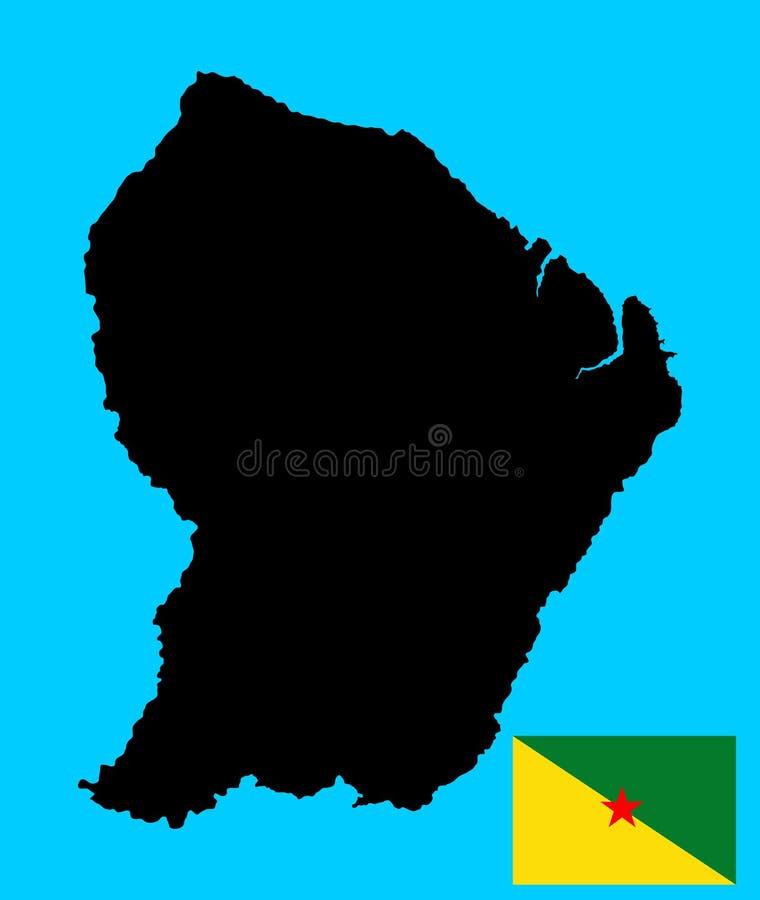 法属圭亚那传染媒介地图剪影和传染媒介旗子 皇族释放例证