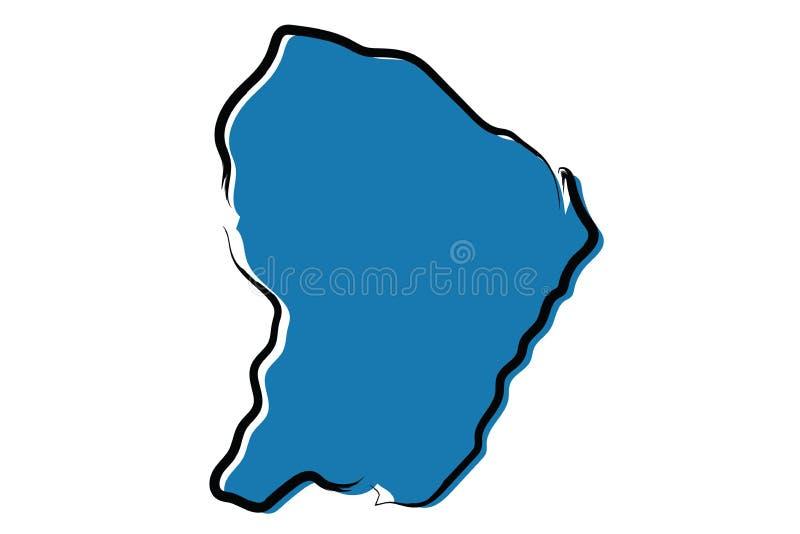 法属圭亚那的风格化蓝色略图 皇族释放例证