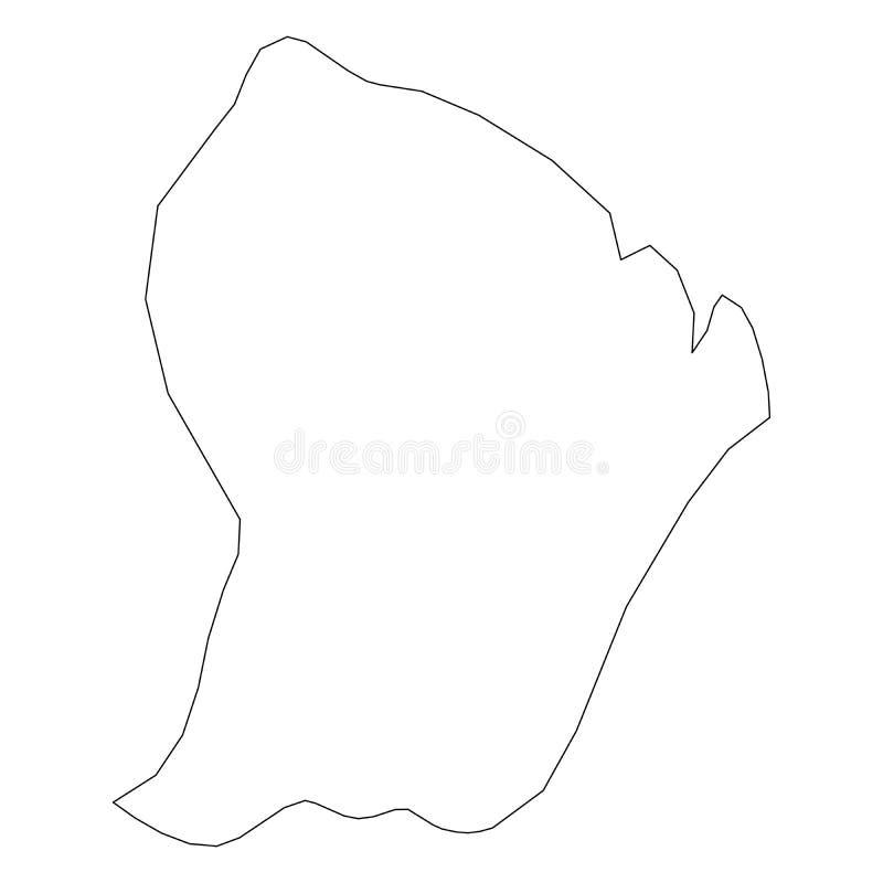 法属圭亚那-国家区域坚实黑概述边界地图  简单的平的传染媒介例证 库存例证