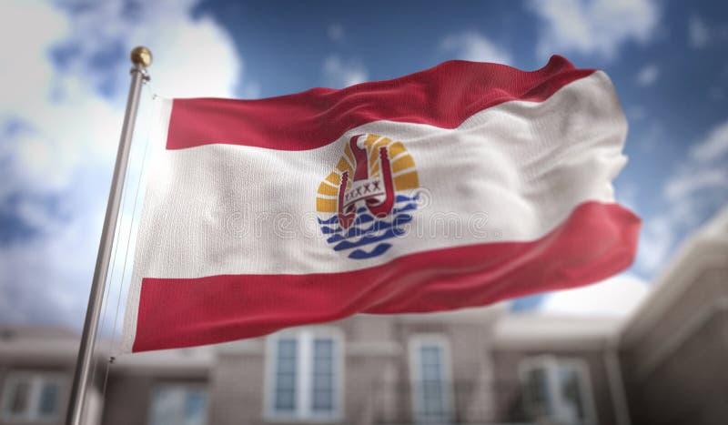 法属玻里尼西亚在修造Backgrou的蓝天的旗子3D翻译 库存例证