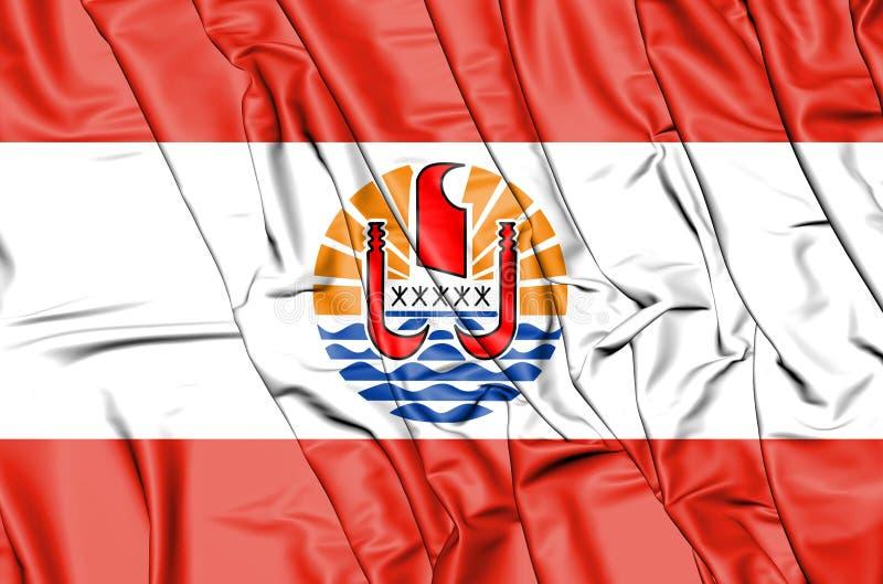 法属玻里尼西亚的旗子 3d例证 库存例证