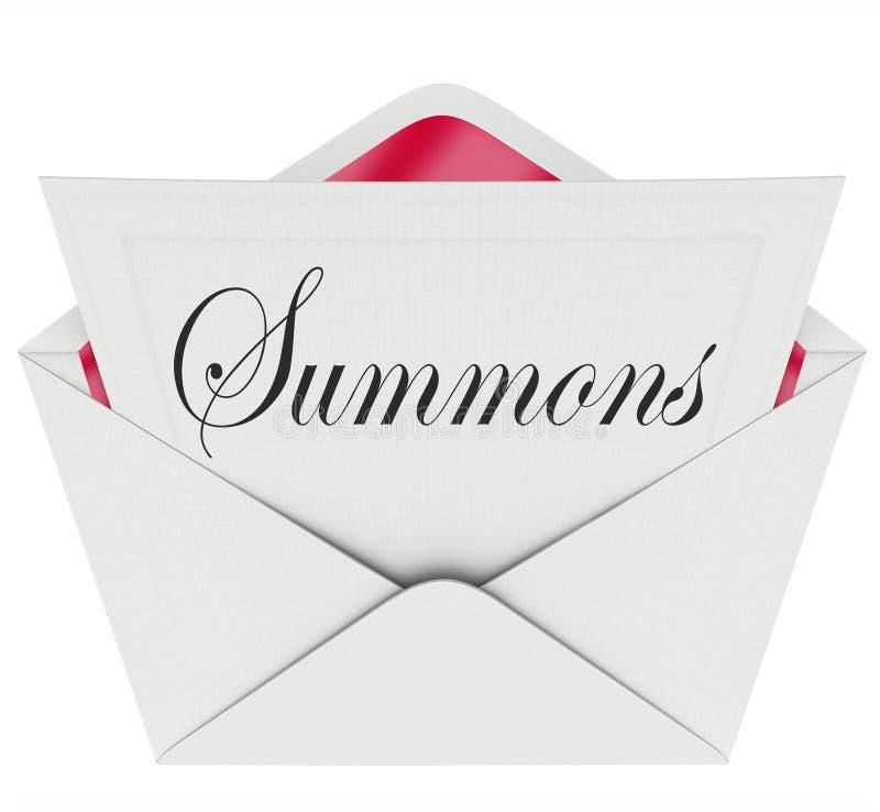 法庭上出现的召唤信件信封邮件法律诉讼加州 库存例证