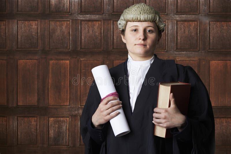 法庭上拿着摘要和书的女性律师画象 免版税图库摄影