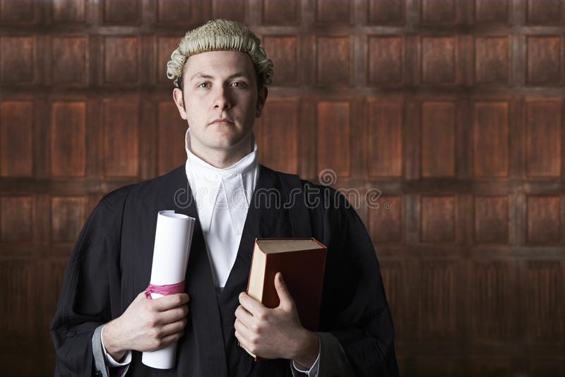 法庭上拿着摘要和书的律师画象 库存照片