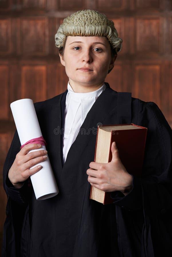 法庭上拿着摘要和书的律师画象 免版税库存图片