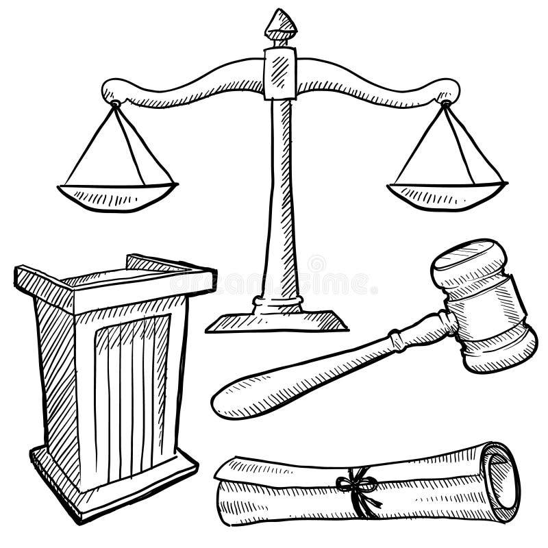 法庭反对草图 向量例证