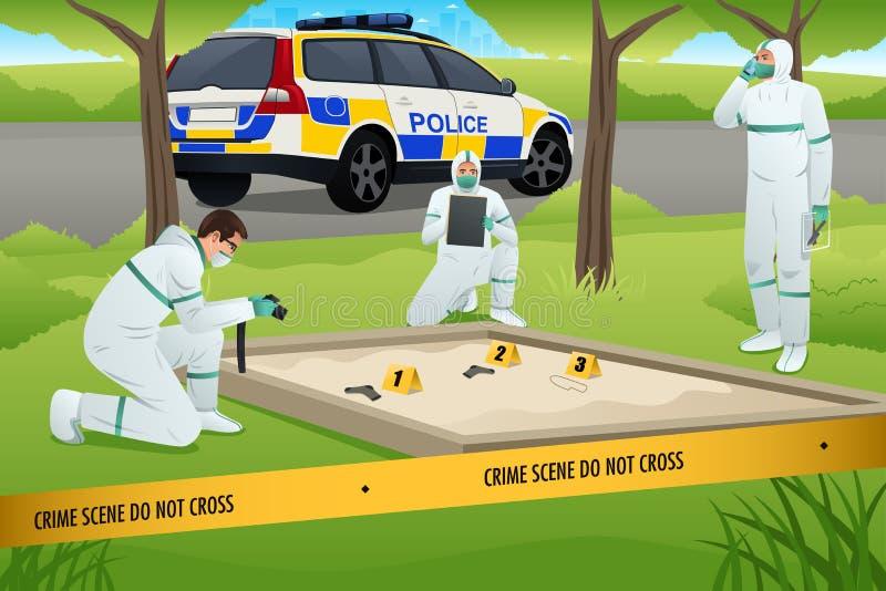 法庭工作在犯罪现场 库存例证