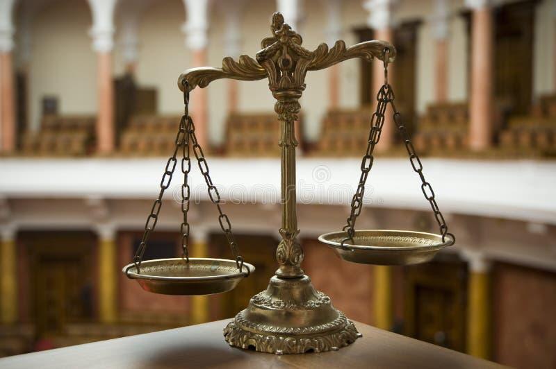 法庭正义缩放比例 库存照片