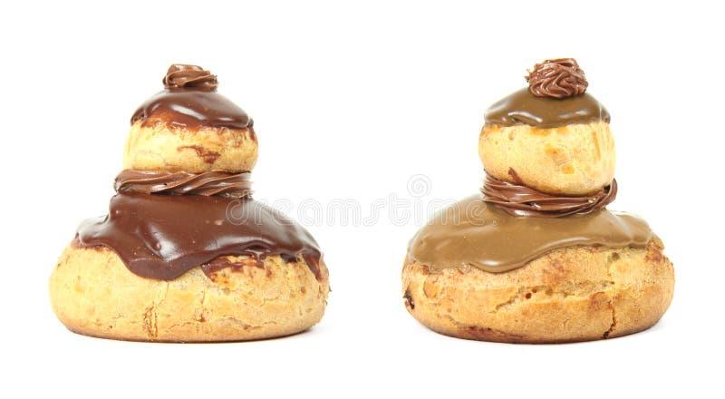 法式酥皮点心'religieuse的用巧克力或咖啡 库存照片