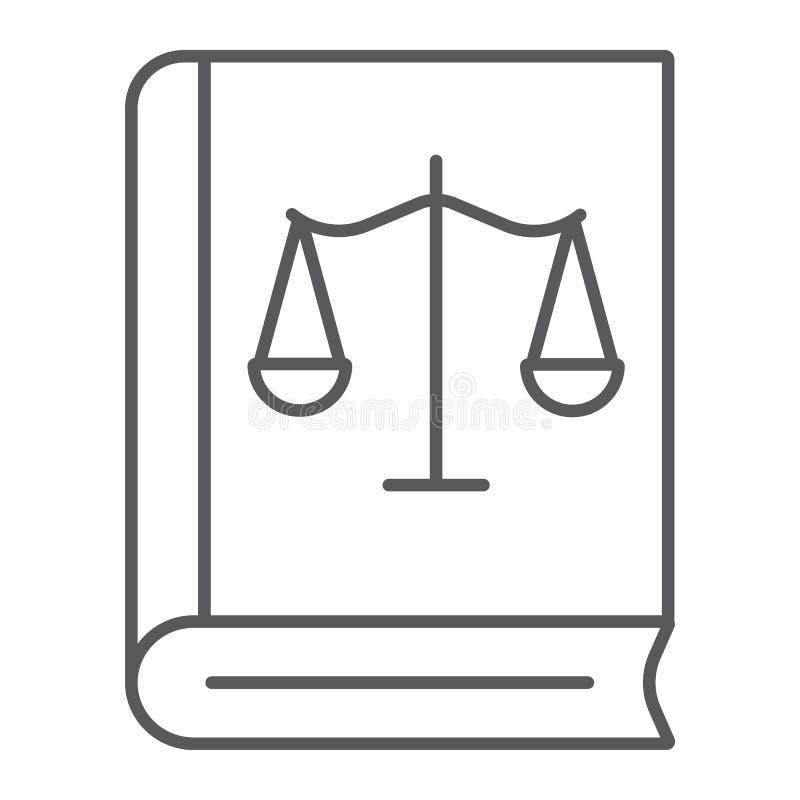 法律书籍稀薄的线象,正义和法律,与天秤座标志,向量图形,在白色背景的一个线性样式的书 向量例证