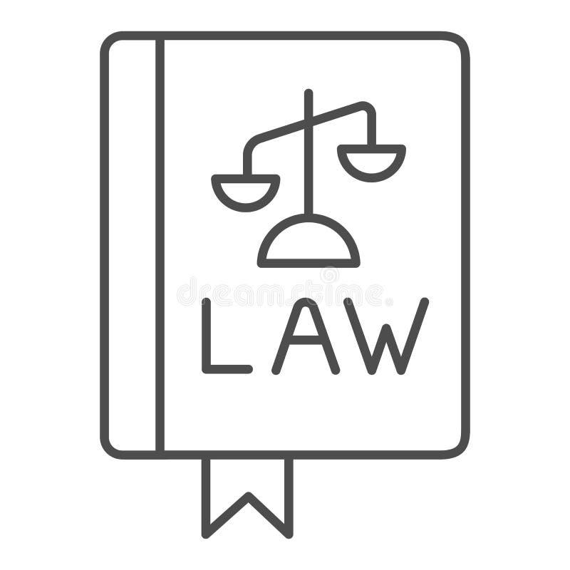 法律书籍稀薄的线象 宪法在白色隔绝的传染媒介例证 评断概述样式设计 向量例证