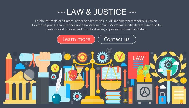 法律和正义与正义象infographics模板的设计观念设计,网倒栽跳水元素,海报横幅 向量例证