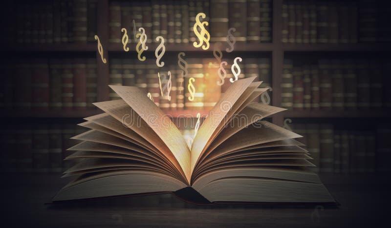 法律和正义概念 打开光亮的法律书籍 3d被回报的例证 库存例证