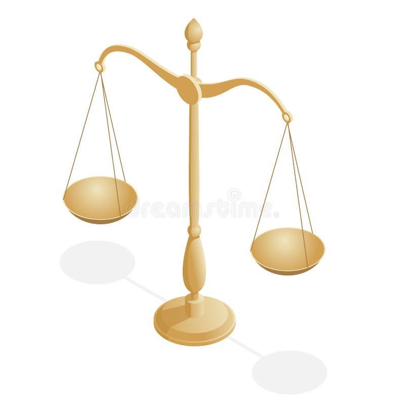 法律和正义的等量标志,法律和正义,法律,法律学 r 碗在平衡的标度, 向量例证