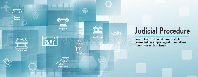 法律和法律象集合与法官、陪审员和司法象 向量例证