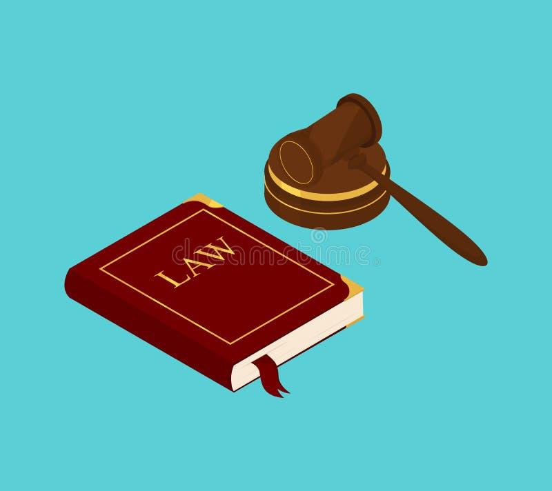 法律和juge锤子书  向量例证