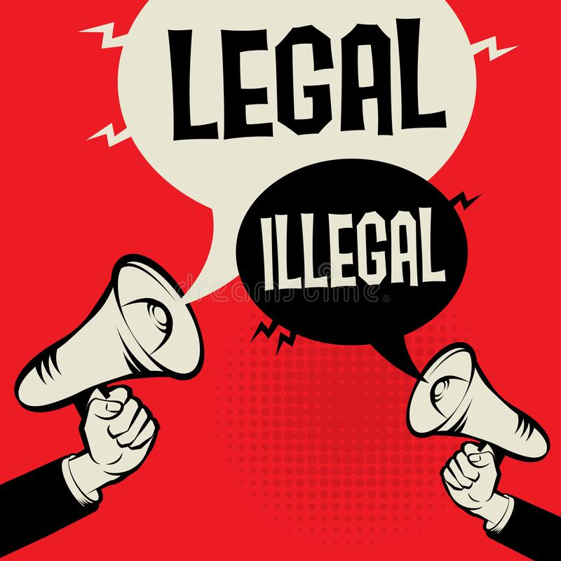 法律对非法 向量例证