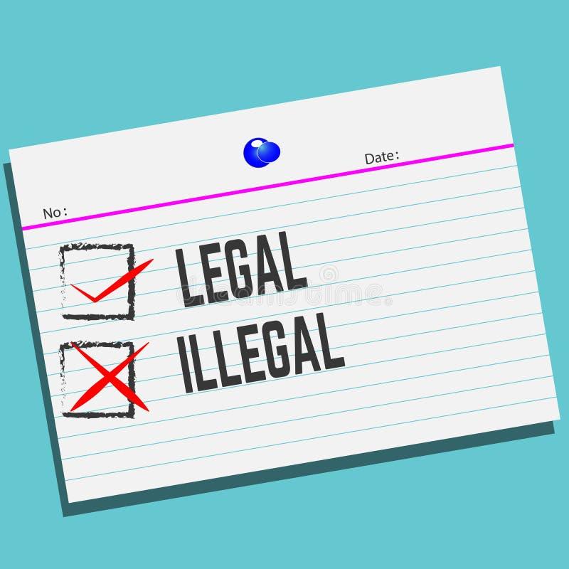 法律或非法在与创造性的设计的纸您的贺卡的, 向量例证