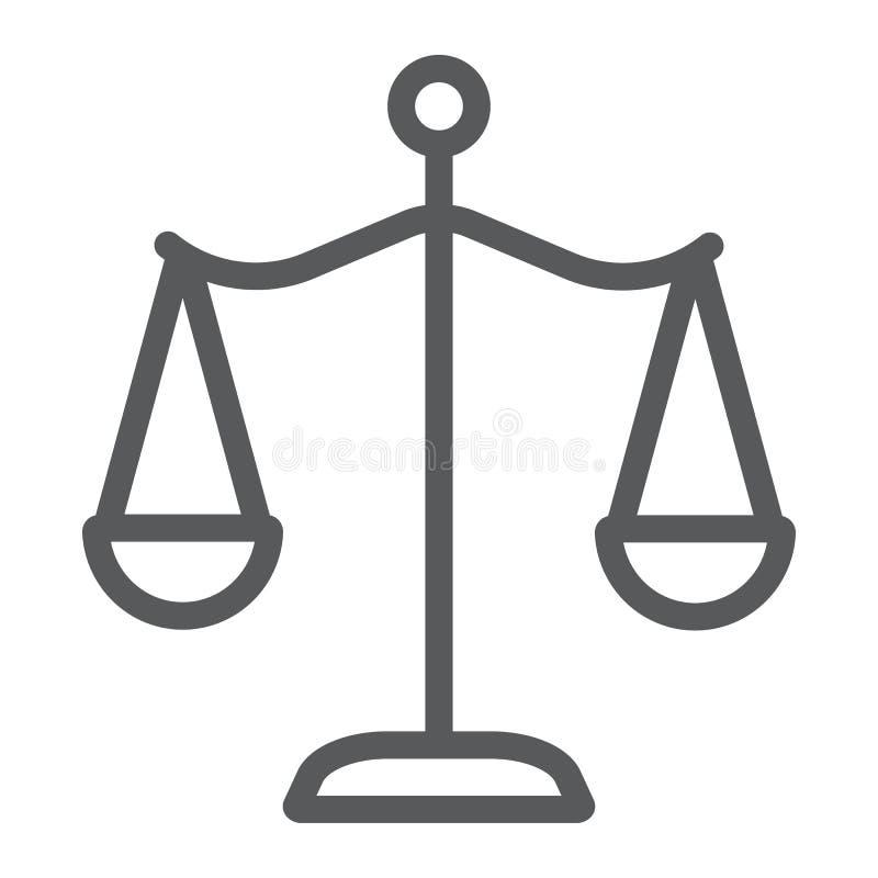 法律标度排行象、正义和法律,平衡标志,向量图形,在白色背景的一个线性样式 皇族释放例证