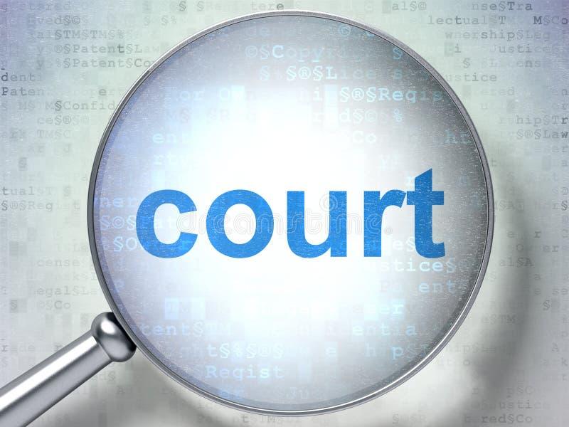 法律概念:与光学玻璃的法院 向量例证