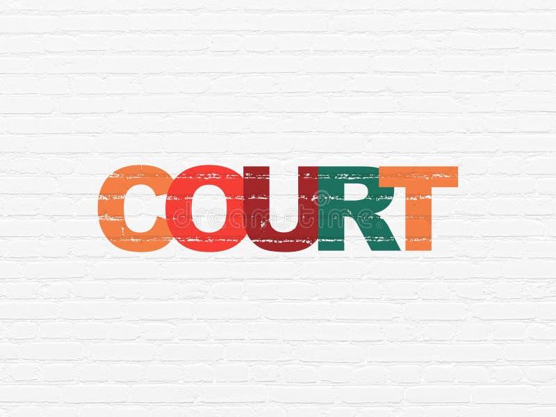 法律概念:在墙壁背景的法院 向量例证