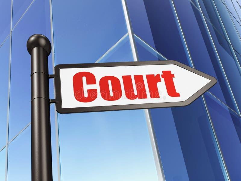 法律概念:在大厦背景的标志法院 皇族释放例证