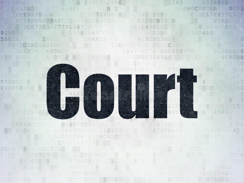 法律概念:在数字资料纸背景的法院 库存例证