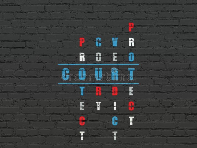法律概念:在纵横填字游戏的法院 向量例证
