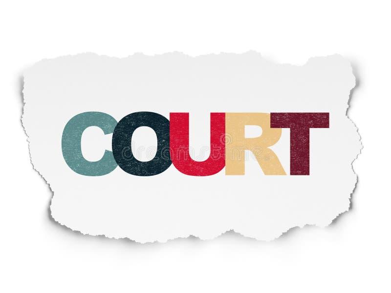 法律概念:在被撕毁的纸背景的法院 皇族释放例证