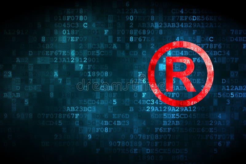 法律概念:登记在数字式背景 向量例证