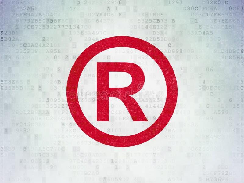 法律概念:登记在数字资料纸背景 向量例证