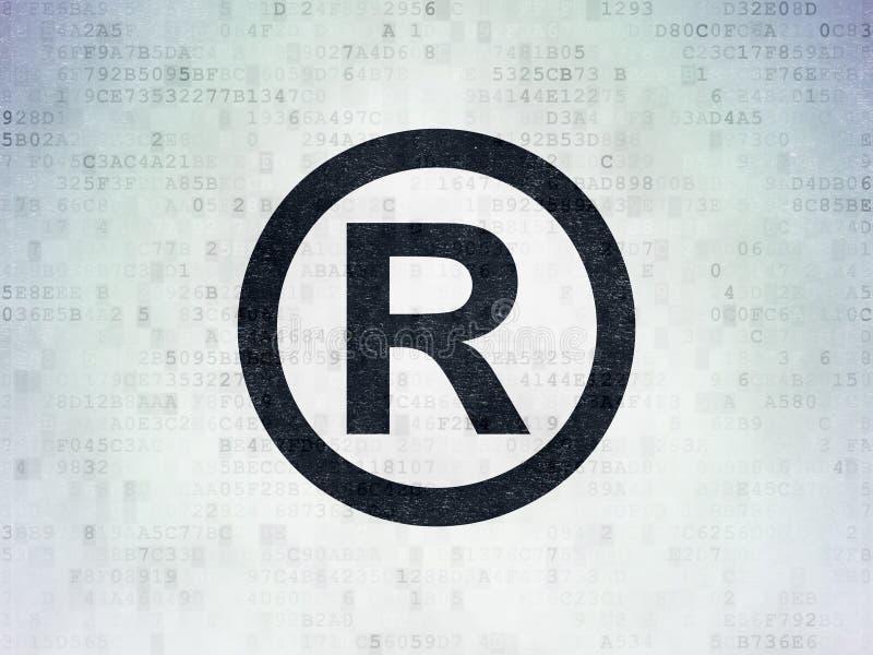 法律概念:登记在数字资料纸背景 库存例证