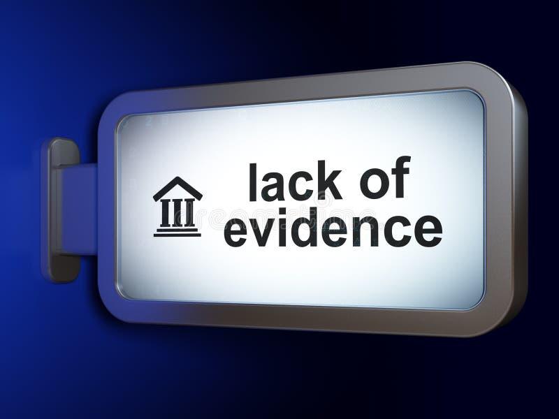法律概念:缺乏证据和法院大楼广告牌背景的 皇族释放例证