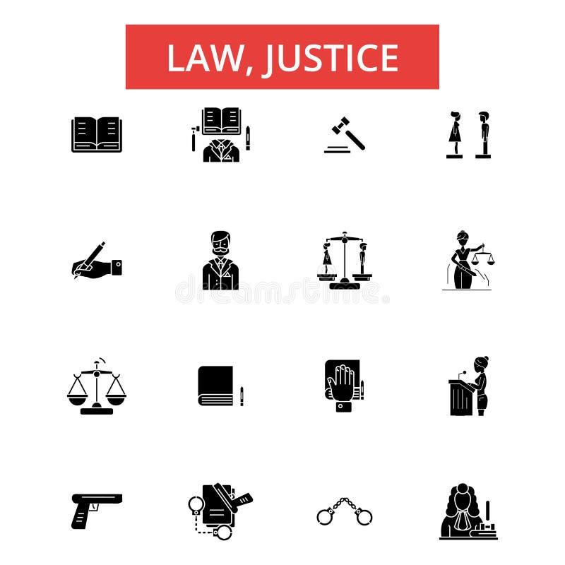 法律正义例证,稀薄的线象,线性平的标志,传染媒介标志 库存例证