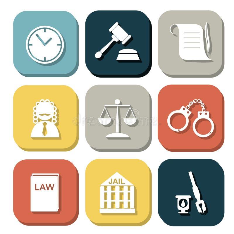 法律法官象集合,正义标志 向量例证