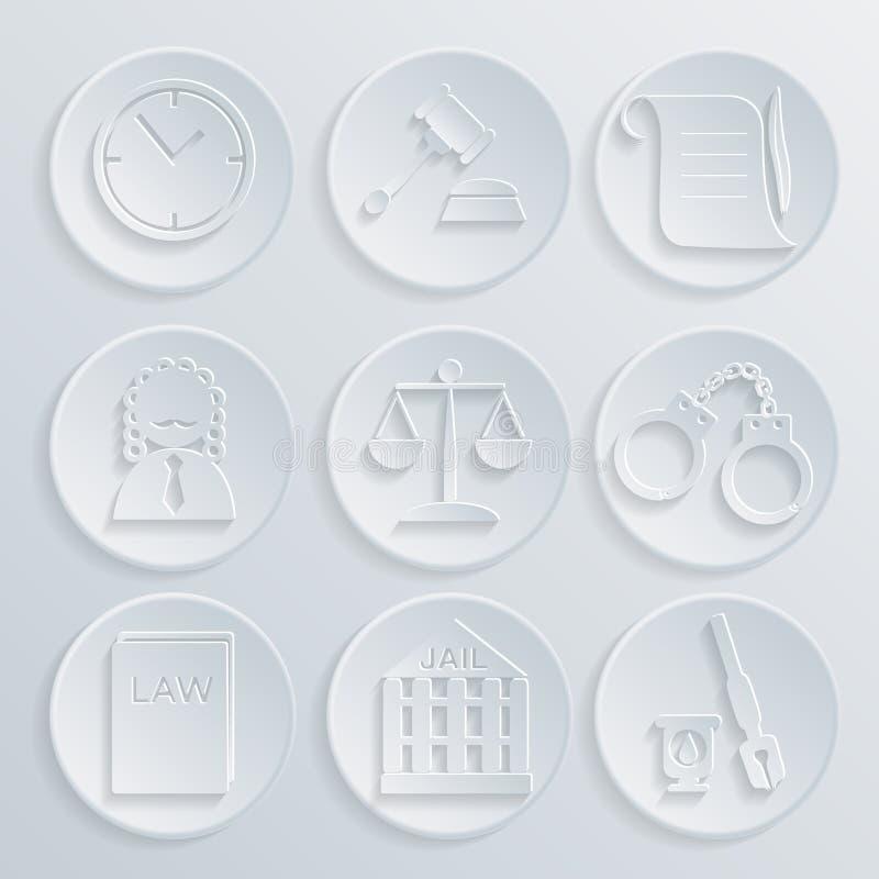 法律法官象集合,正义标志 库存例证